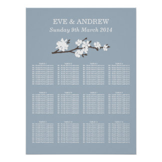Wedding Seating Chart Floral Branch Print