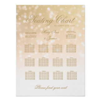 Wedding Seating Chart Gold Bokeh Sparkle Lights