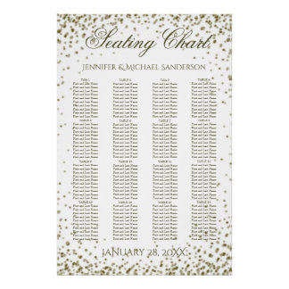Wedding Seating Chart Gold Confetti