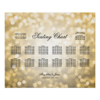 Wedding Seating Chart Gold Glitter Lights Poster