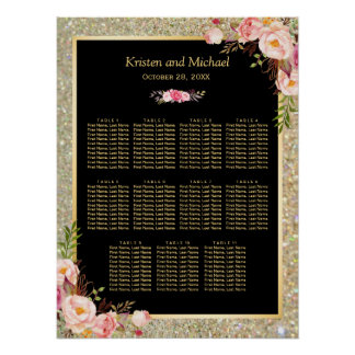 Wedding Seating Chart Gold Glitter Pink Floral Poster