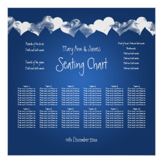 Wedding Seating Chart Grunge Hearts Blue Poster