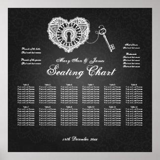 Wedding Seating Chart Key To My Heart Black Print