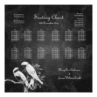 Wedding Seating Chart Love Birds Black Poster
