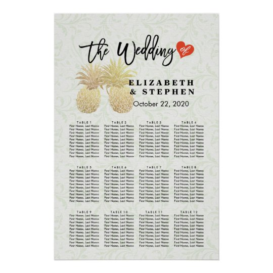 Wedding Seating Chart Modern Gold Pineapple Couple