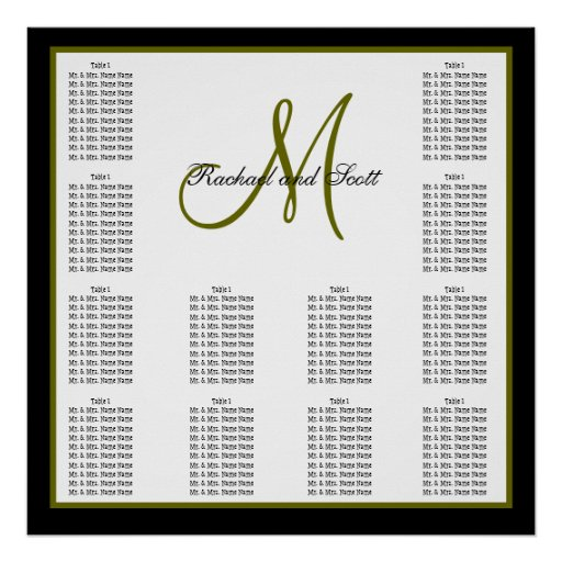 Wedding Seating Chart Monogram Names Poster