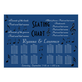 Wedding Seating Chart Music Notes Something Blue Poster
