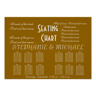 Wedding Seating Chart Names Bride Groom Posters