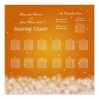 Wedding Seating Chart Party Sparkle Orange Poster