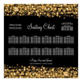 Wedding Seating Chart Party Sparkles Gold