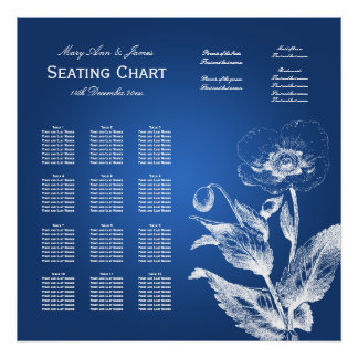 Wedding Seating Chart Poppy Blue Posters