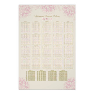 Wedding Seating Chart Poster   Floral Peony Design