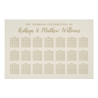 Wedding Seating Chart Poster | Gold Celebration