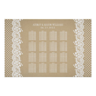Wedding Seating Chart Poster | Kraft and Lace