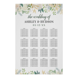 Wedding Seating Chart Poster | Neutral Blooms