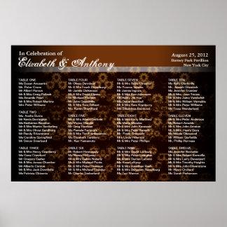 Wedding Seating Chart Poster Sepia