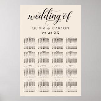 Wedding Seating Chart Poster | Warm White