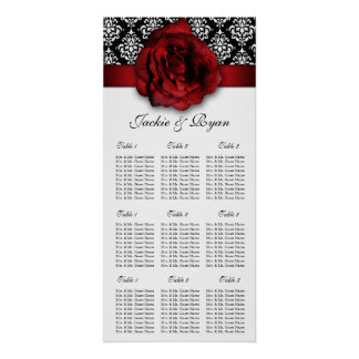 Wedding Seating Chart Red Rose Damask Print