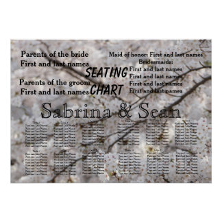 Wedding Seating Chart Romantic Cherry Blossoms