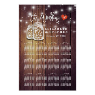 Wedding Seating Chart Rustic Wood Mason Jar Lights