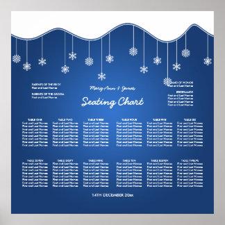 Wedding Seating Chart Snowflake Decoration Blue Poster