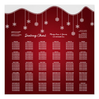 Wedding Seating Chart Snowflake Decoration Red Posters