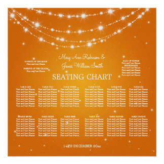 Wedding Seating Chart Sparkling Chain Orange Print