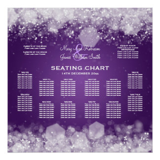 Wedding Seating Chart Sparkling Night Purple Poster