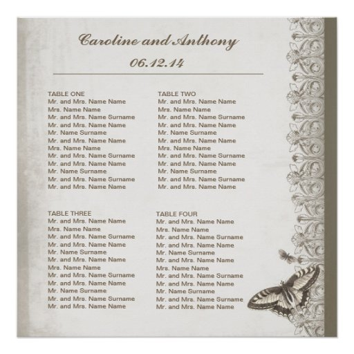 Wedding seating chart table numbers and guests posters