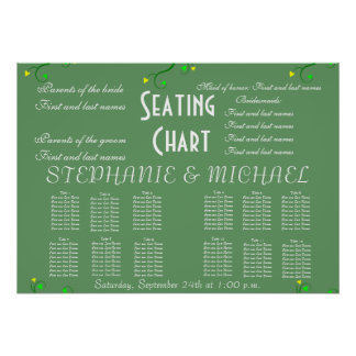 Wedding Seating Chart Vines Green Poster