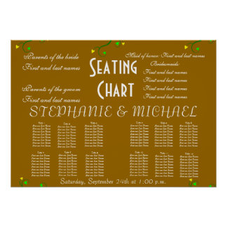 Wedding Seating Chart Vines Heart Hearts Love Poster