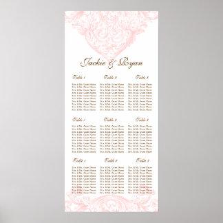 Wedding Seating Chart Vintage Spring Pink Poster