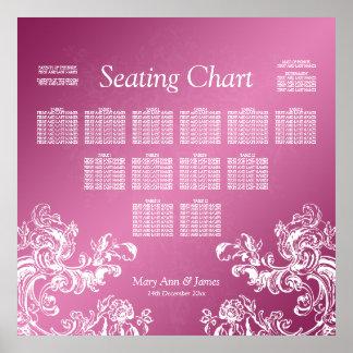 Wedding Seating Chart Vintage Swirls 2 Pink Poster