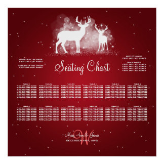 Wedding Seating Chart Winter Deer Sparkle Red Poster