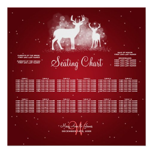 Wedding Seating Chart Winter Deer Sparkle Red Posters