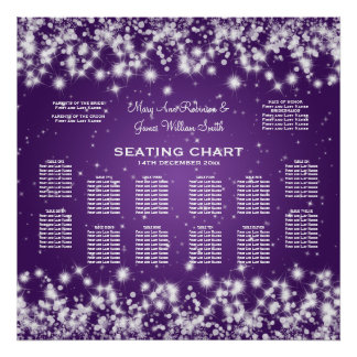 Wedding Seating Chart Winter Sparkle Purple Print