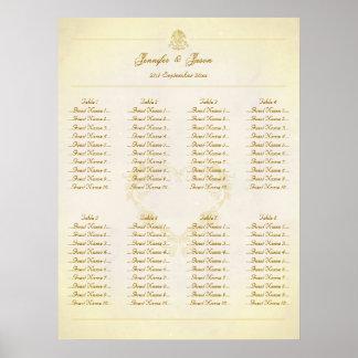 Wedding Seating Plan Chart Vintage Parchment Paper