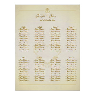 Wedding Seating Plan Chart Vintage Parchment Paper Poster