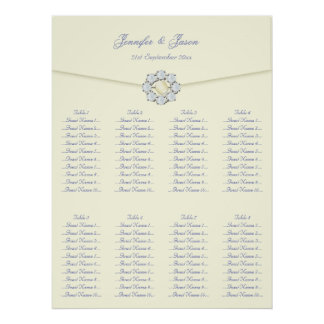 Wedding Seating Plan Ivory with Pearl & Diamonds Posters