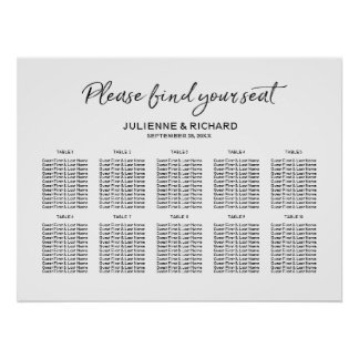 Wedding Seating Plan Stylish Lettered Sign