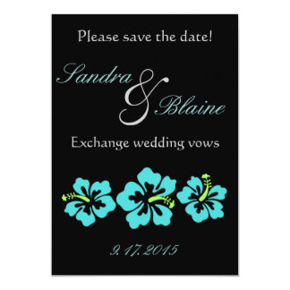 Wedding Set - Hibiscus Blue Flowers 13 Cm X 18 Cm Invitation Card