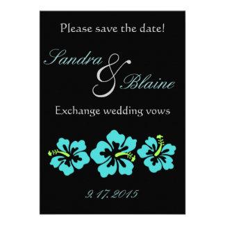 Wedding Set - Hibiscus Blue Flowers Custom Invites