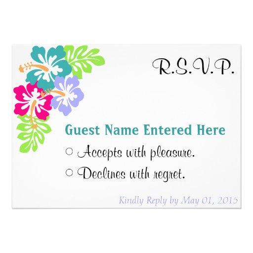 Wedding Set - Hibiscus Blue Flowers Custom Announcements