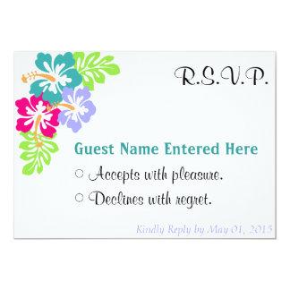 Wedding Set - Hibiscus Blue Flowers 13 Cm X 18 Cm Invitation Card