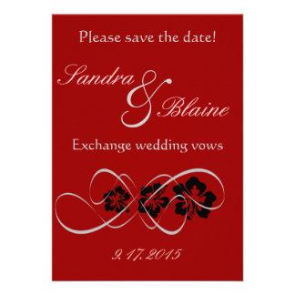 Wedding Set - Hibiscus Flourish Black Red Personalized Announcement