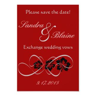 Wedding Set - Hibiscus Flourish Black Red 13 Cm X 18 Cm Invitation Card