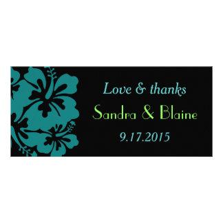 Wedding Set - Hibiscus Teal Flowers Personalised Rack Card