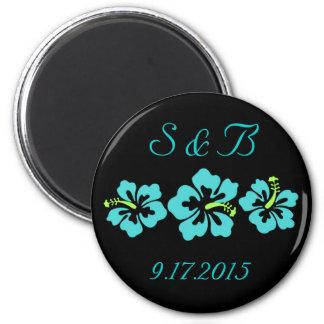 Wedding Set - Tropical - Hibiscus Blue Refrigerator Magnets