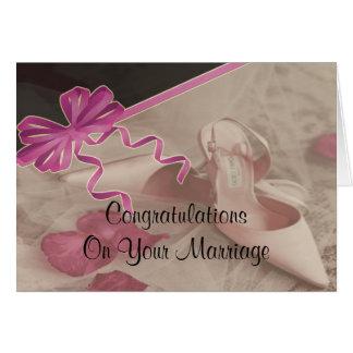 Wedding Shoes Rose Petals Greeting Card