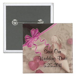 Wedding Shoes Rose Petals Set 15 Cm Square Badge